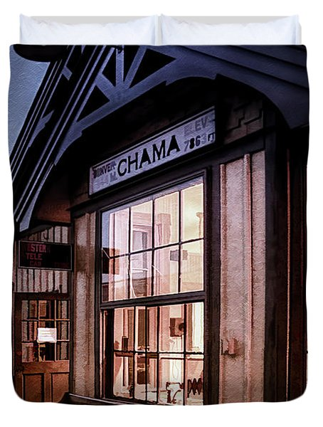 Chama Train Station Duvet Cover by Priscilla Burgers