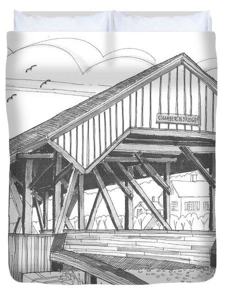 Chamberin Mill Covered Bridge Duvet Cover