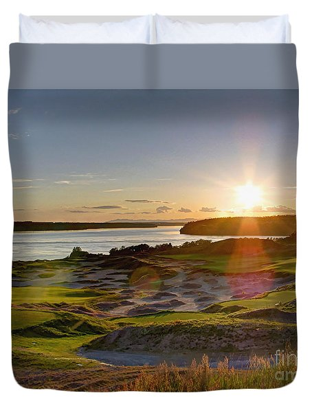 Chambers Bay Sun Flare - 2015 U.s. Open  Duvet Cover by Chris Anderson