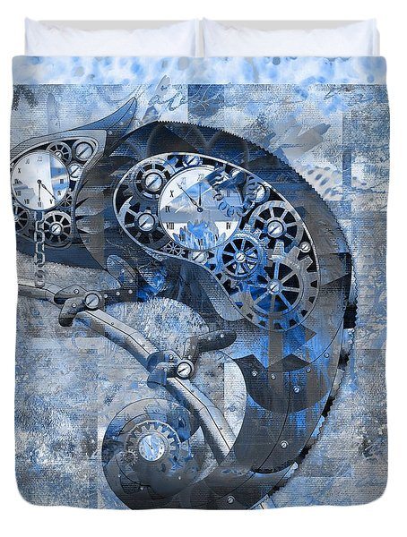 Chameleon - Blue 01b02 Duvet Cover by Variance Collections