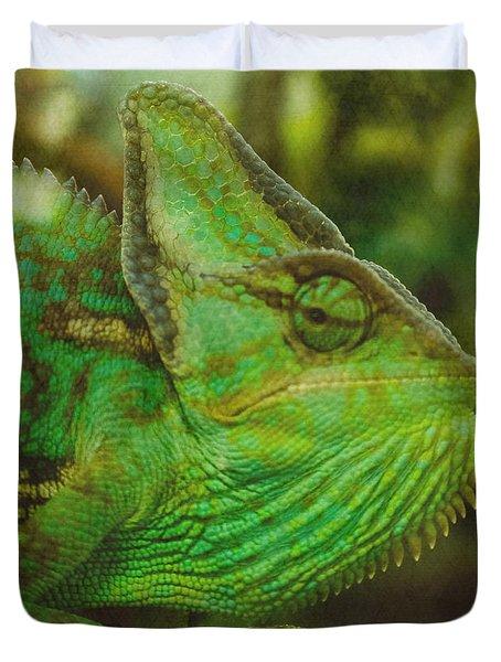 Duvet Cover featuring the photograph Chameleon by Lisa Brandel