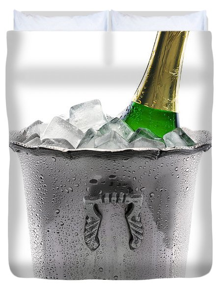 Champagne Bottle On Ice Duvet Cover