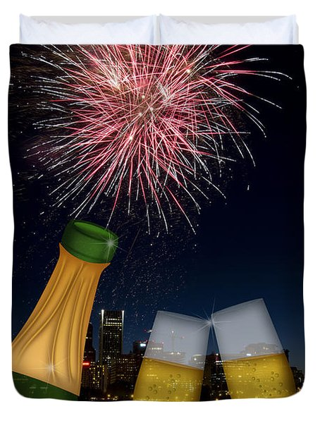 Champagne Toast With Portland Oregon Skyline Duvet Cover