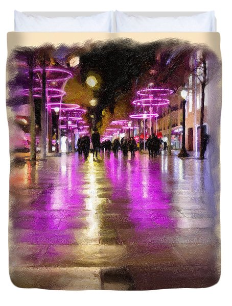 Champs Elysees In Pink Duvet Cover by Angela A Stanton