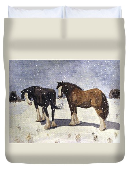 Duvet Cover featuring the painting Chance Of Flurries by Angela Davies