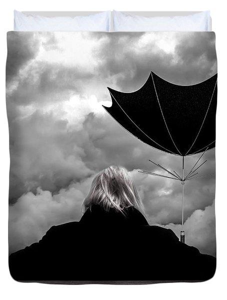 Chance Of Rain   Broken Umbrella Duvet Cover by Bob Orsillo