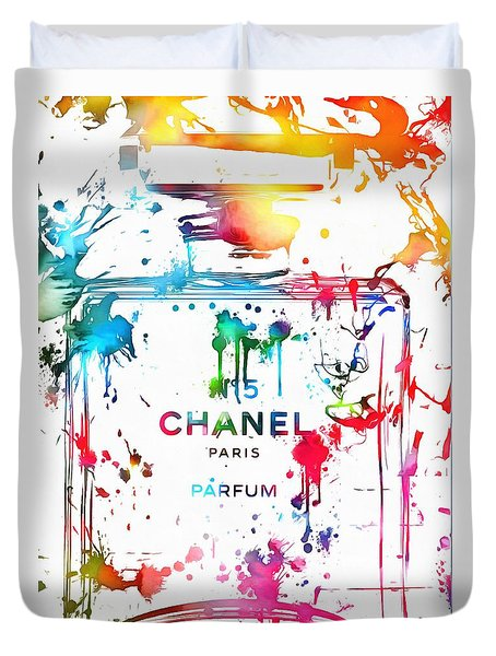 Chanel Number Five Paint Splatter Duvet Cover by Dan Sproul