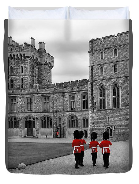 Changing Of The Guard At Windsor Castle Duvet Cover by Lisa Knechtel