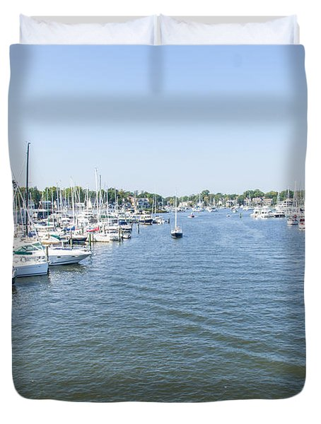Duvet Cover featuring the photograph Channel Down Spa Creek by Charles Kraus