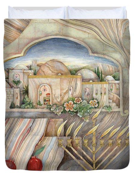 Chanukah Duvet Cover by Michoel Muchnik