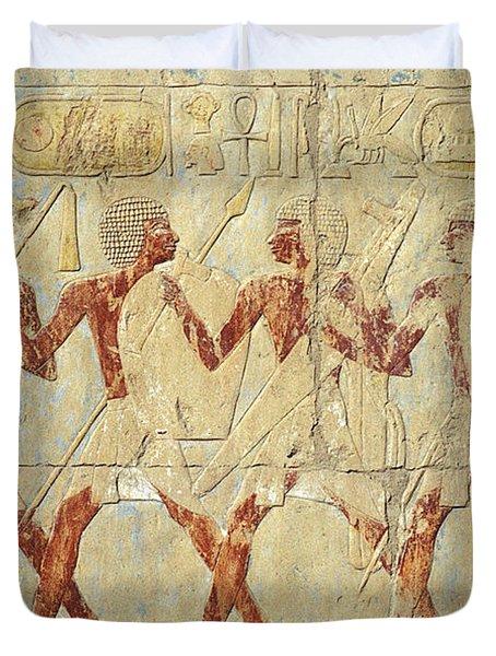 Chapel Of Hathor Hatshepsut Nubian Procession Soldiers - Digital Image -fine Art Print-ancient Egypt Duvet Cover