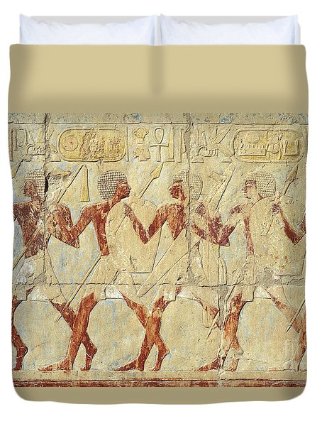Chapel Of Hathor Hatshepsut Nubian Procession Soldiers - Digital Image -fine Art Print-ancient Egypt Duvet Cover