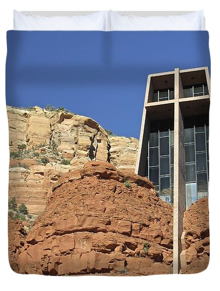 Duvet Cover featuring the photograph Chapel Of The Holy Cross by Penny Meyers