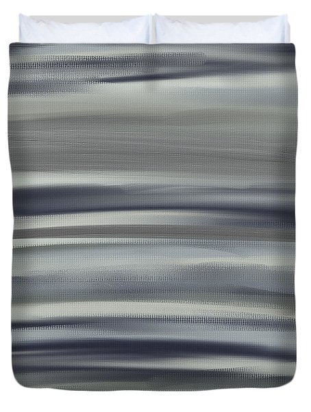 Charcoal And Blue Duvet Cover by Lourry Legarde