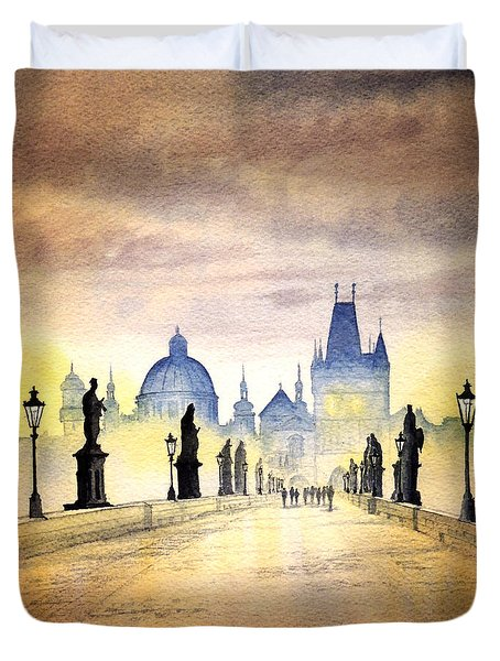 Charles Bridge Prague Duvet Cover by Bill Holkham