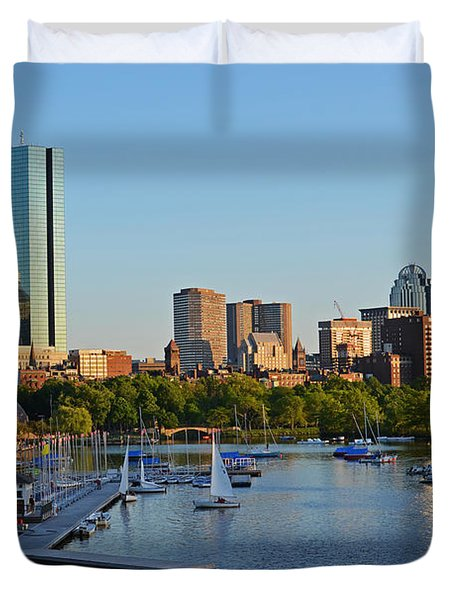 Charles River At Sunset Duvet Cover