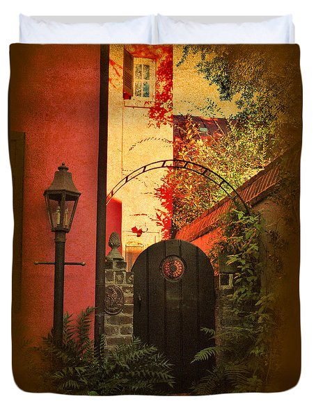 Duvet Cover featuring the photograph Charleston Garden Entrance by Kathy Baccari