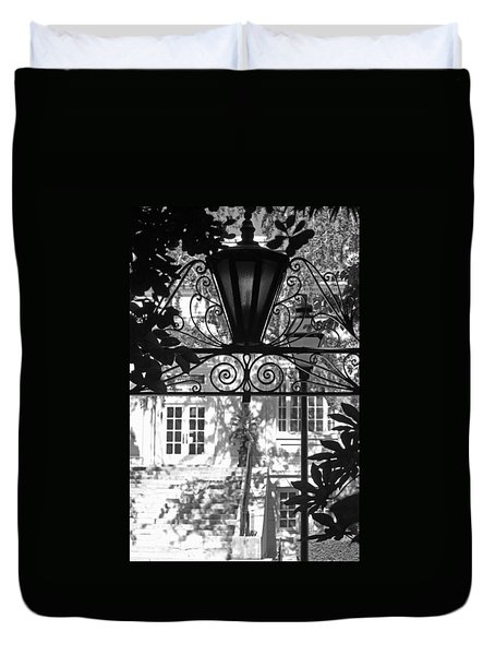 Charleston Gateway II In Black And White Duvet Cover by Suzanne Gaff