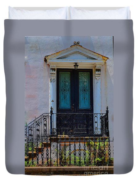 Charleston Wood Door Etched Glass Duvet Cover
