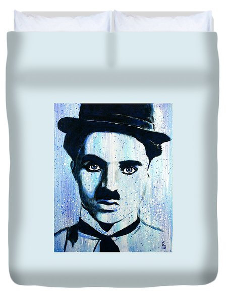 Charlie Chaplin Little Tramp Portrait Duvet Cover