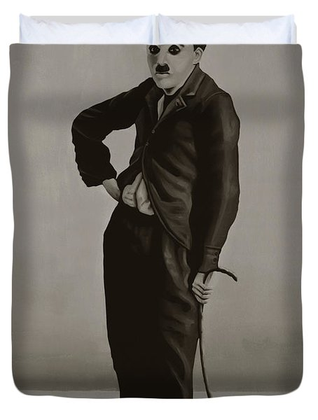 Charlie Chaplin Painting Duvet Cover
