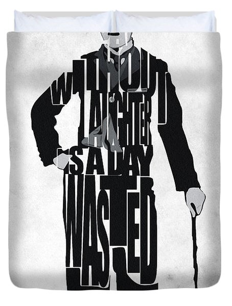 Charlie Chaplin Typography Poster Duvet Cover