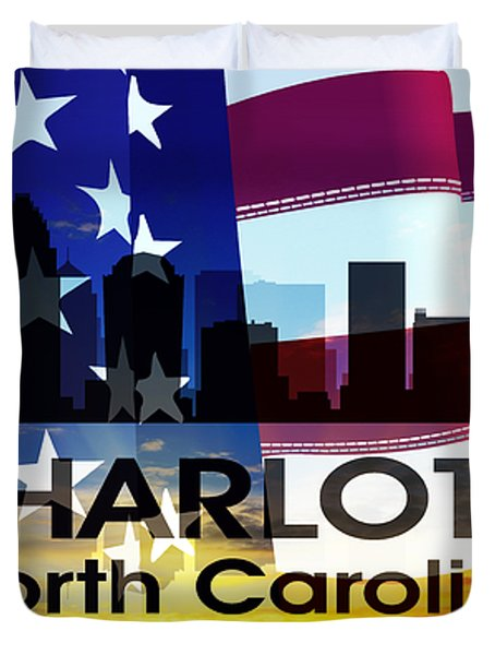 Charlotte Nc Patriotic Large Cityscape Duvet Cover by Angelina Vick
