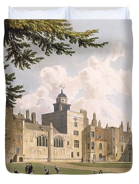 Charter House From The Play Ground Duvet Cover by William Westall
