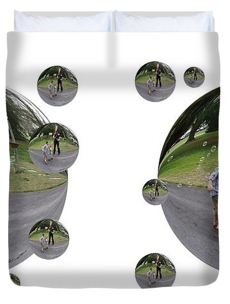 Chasing Bubbles - Cross Your Eyes And Focus On The Middle Image That Appears Duvet Cover by Brian Wallace