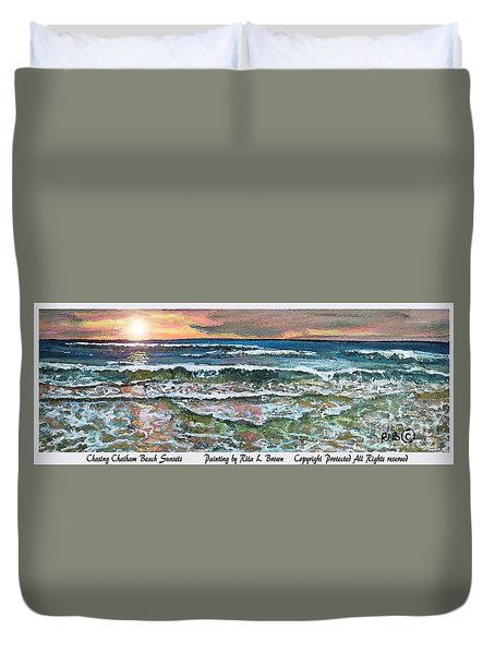 Duvet Cover featuring the painting Chasing Chatham Beach Sunsets by Rita Brown