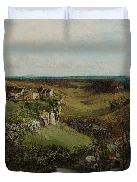 Chateau Dornans Duvet Cover by Gustave Courbet