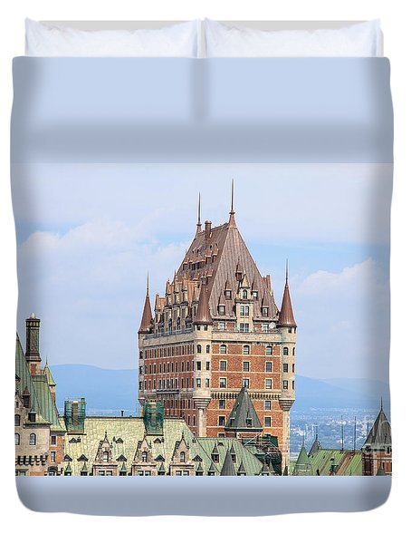 Chateau Frontenac Quebec City Canada Duvet Cover by Edward Fielding