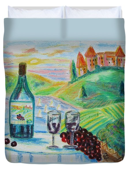 Chateau Wine Duvet Cover