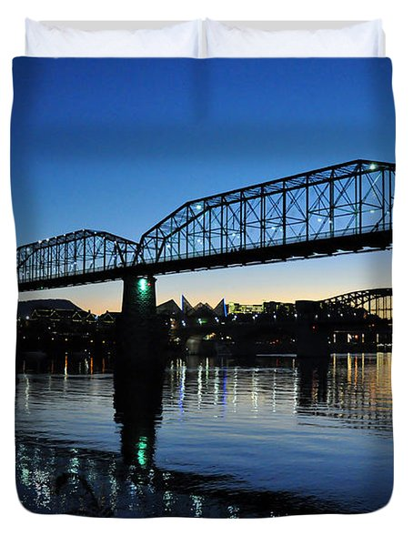 Tennessee River Bridges Chattanooga Duvet Cover