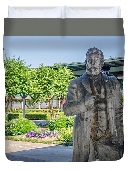 Duvet Cover featuring the photograph Chattanooga Choo Choo Court Yard by Susan  McMenamin