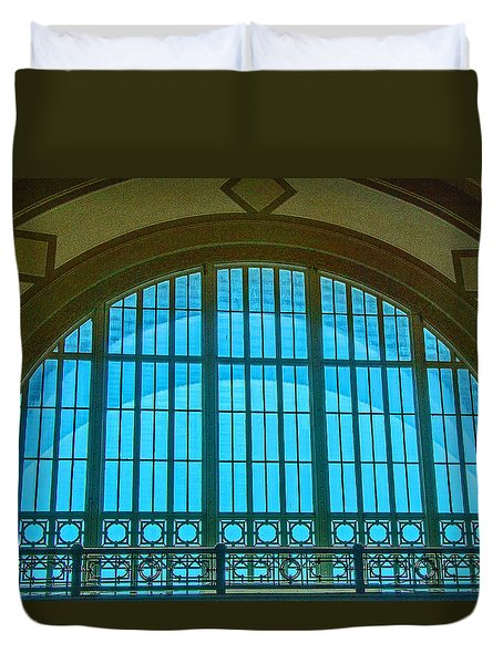 Duvet Cover featuring the photograph Chattanooga Train Depot Stained Glass Window by Susan  McMenamin