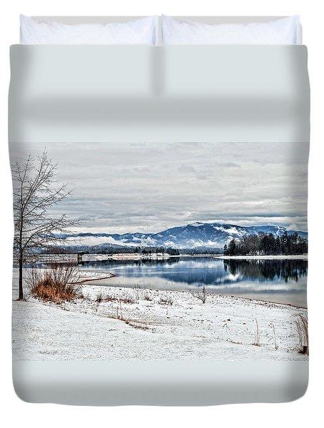 Chatuge Dam Winter Vista Duvet Cover
