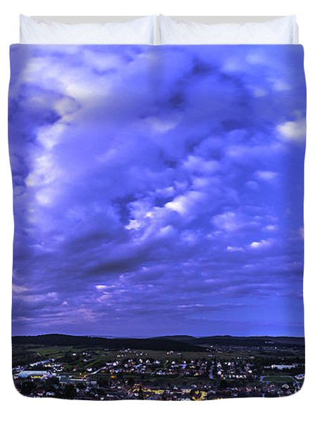 Checiny Town Blue Hour Panorama Duvet Cover by Julis Simo