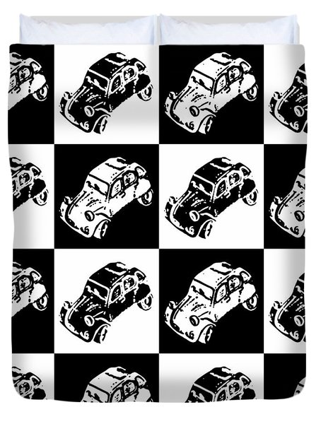 Checkerboard Deux Chevaux Duvet Cover by Richard Reeve