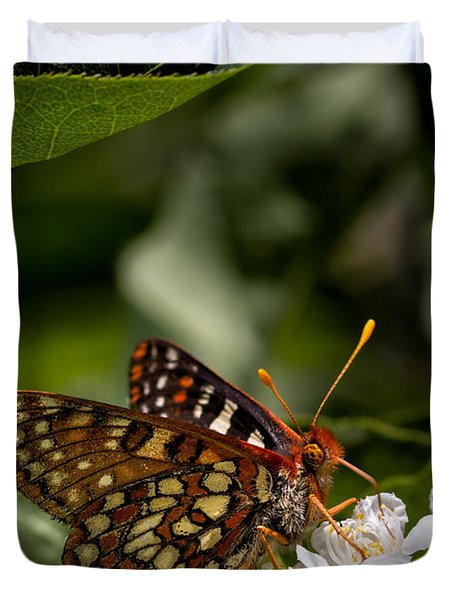 Checkerspot Sipping Nectar Duvet Cover