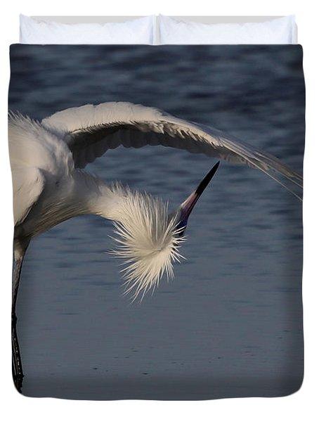 Checking For Leaks - Reddish Egret - White Form Duvet Cover