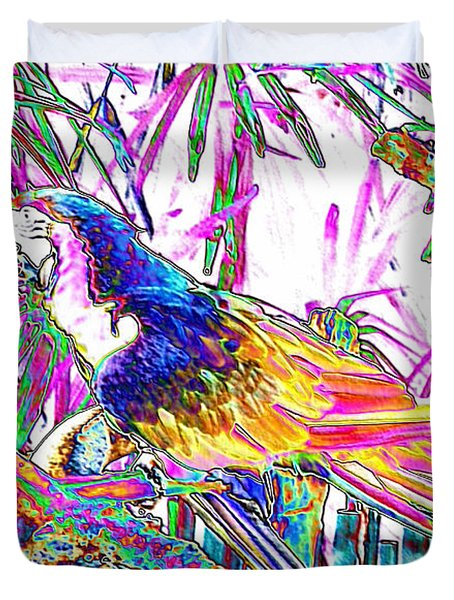 Cheerful Parrot. Colorful Art Collection. Promotion - August 2015 Duvet Cover