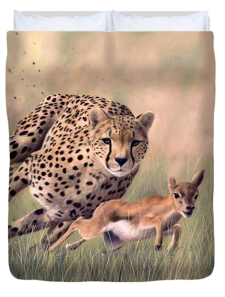 Cheetah And Gazelle Painting Duvet Cover