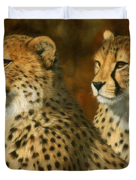 Cheetah Brothers Duvet Cover by David Stribbling