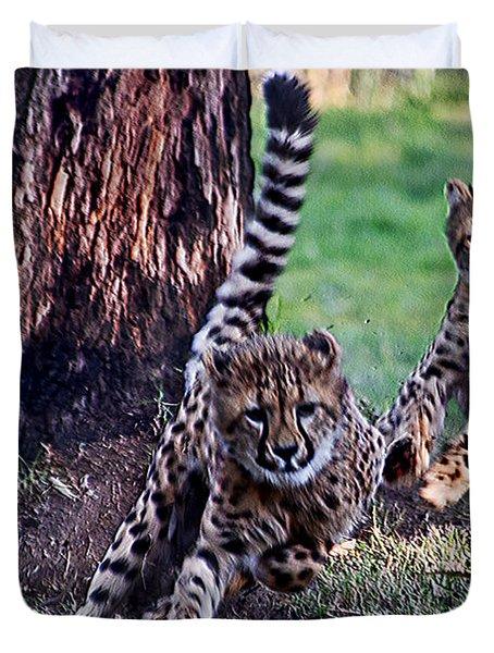 Cheetah Cubs Duvet Cover