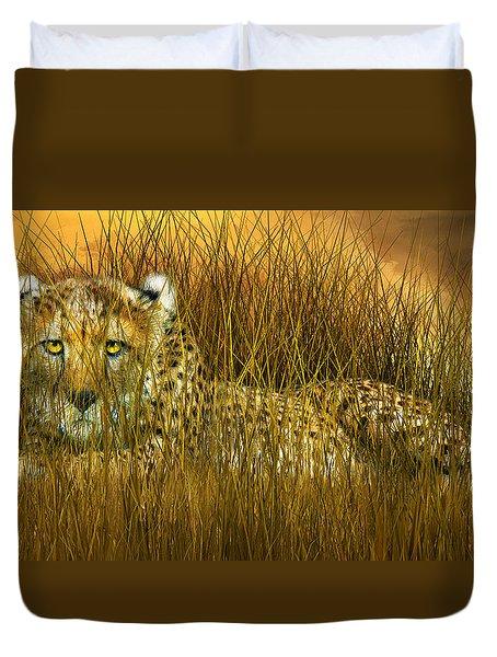 Cheetah - In The Wild Grass Duvet Cover by Carol Cavalaris