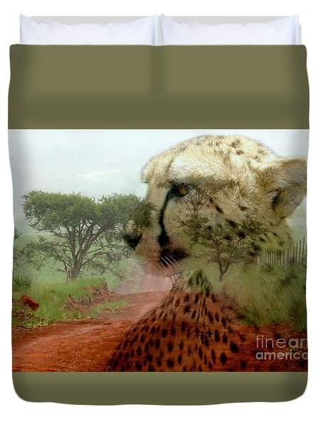 Cheetah In The Wilderness Duvet Cover by Annie Zeno