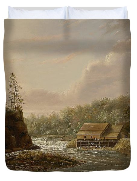 Cheevers Mill On The St. Croix River Duvet Cover by Henry Lewis
