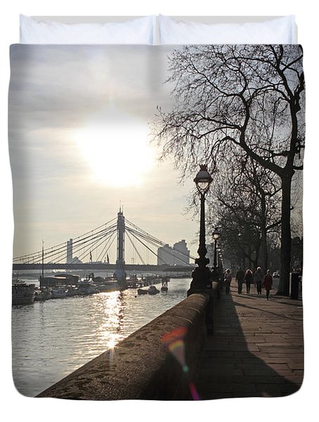 Chelsea Embankment London Uk Duvet Cover