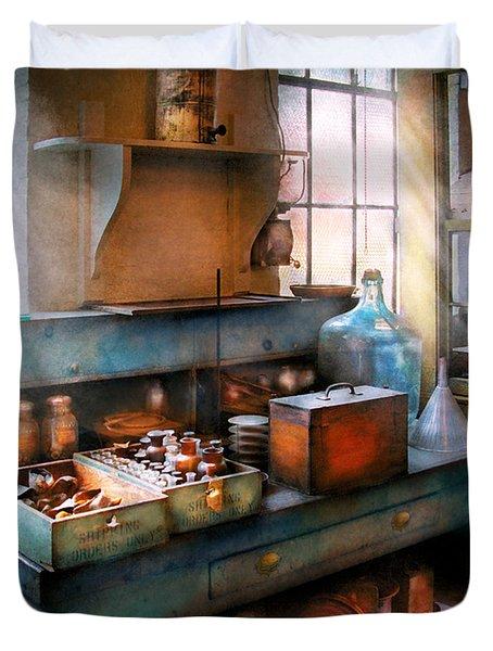 Chemist - Making Glue Duvet Cover by Mike Savad